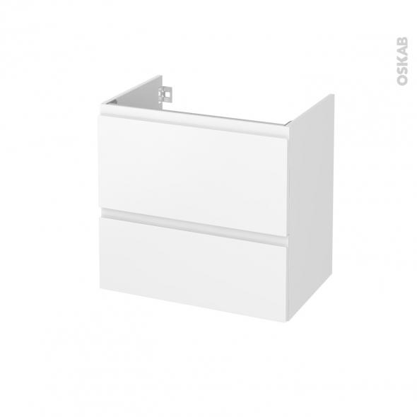 Meuble De Salle De Bains Sous Vasque Ipoma Blanc Mat 2 Tiroirs Cotes Decors L60 X H57 X P40 Cm Oskab