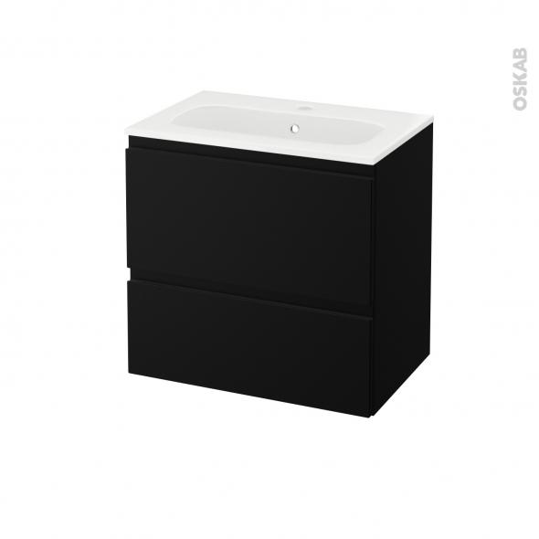 meuble de salle de bains plan vasque rezo ipoma noir mat 2 tiroirs cotes decors l60 5 x h58 5 x p40 5 cm