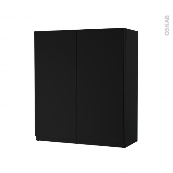 Armoire De Salle De Bains Rangement Haut Ipoma Noir Mat 2 Portes Cotes Decors L60 X H70 X P27 Cm Oskab