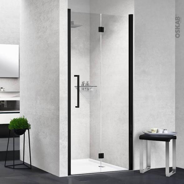 porte de douche pliante novellini 80 cm droite verre transparent profiles noirs