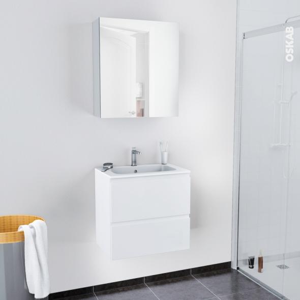 Ensemble Salle De Bains Meuble Ipoma Blanc Brillant Plan Vasque Resine Armoire De Toilette L60 5 X H58 5 X P40 5 Cm Oskab