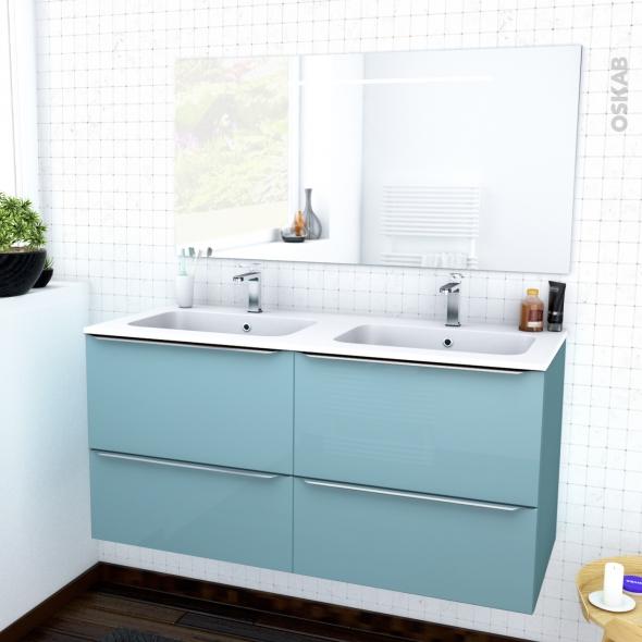 ensemble salle de bains meuble keria bleu plan double vasque resine miroir lumineux l120 5 x h58 5 x p50 5 cm
