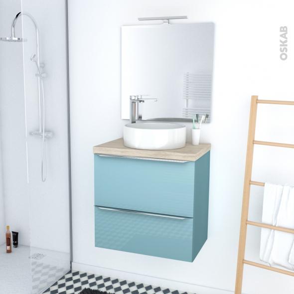 Ensemble Salle De Bains Meuble Keria Bleu Plan De Toilette Chene Clair Ikoro Vasque Ronde Miroir Et Eclairage L60 X H57 X P40 Cm Oskab