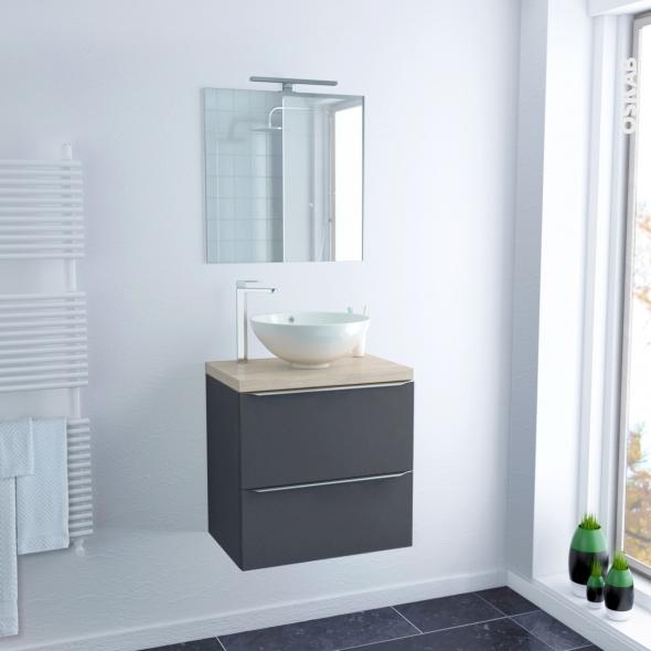 ensemble salle de bains meuble ginko gris plan de toilette chene clair ikoro vasque bol miroir et eclairage l60 x h57 x p40 cm