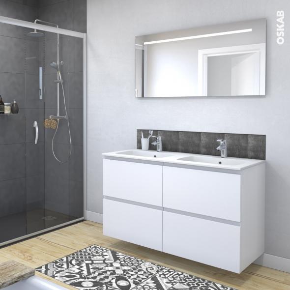 Ensemble Salle De Bains Meuble Ipoma Blanc Mat Plan Double Vasque Resine Miroir Lumineux L120 5 X H71 5 X P50 5 Cm Oskab