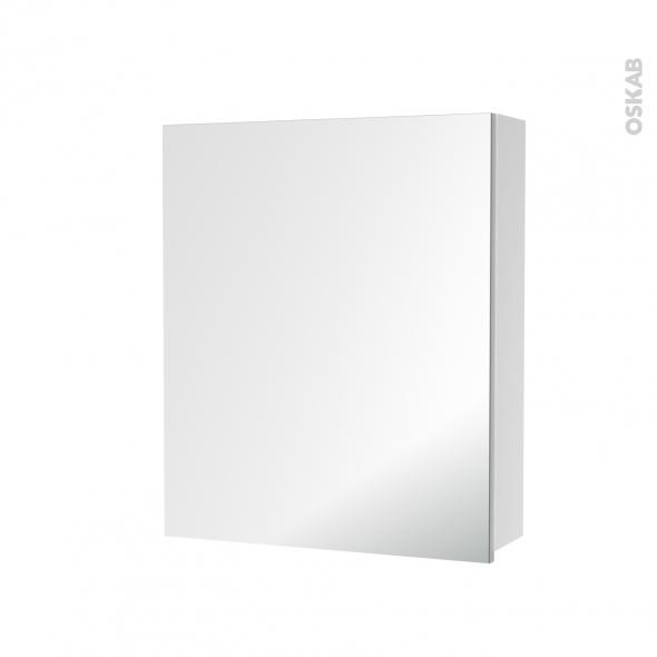 armoire de toilette rangement haut 1 porte miroir cotes blancs l60 x h70 x p17 cm hakeo