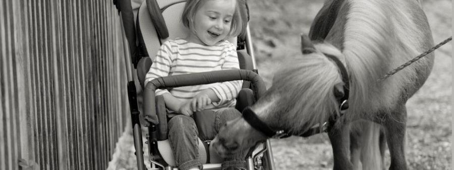 Criança em uma Kimba Neo com um cavalo