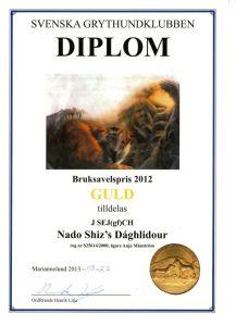 Bruksavelspris SGK 2012 J SEJgfCH Nado Shiz's D'Aghlidour