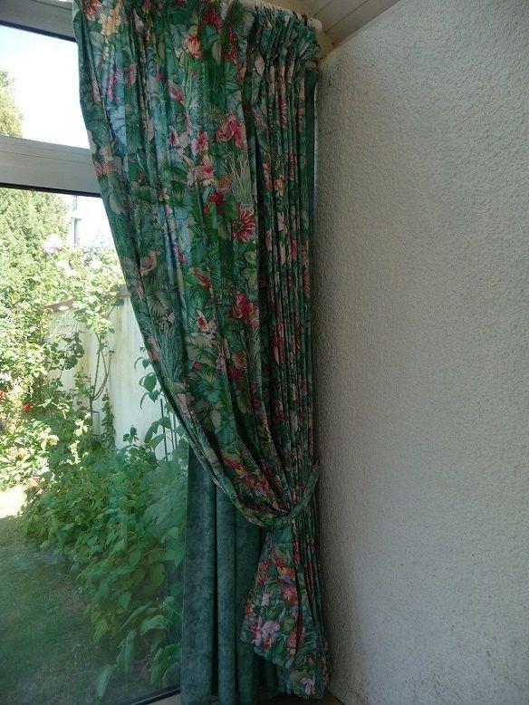 5 double rideaux tissu motifs exotiques a 150