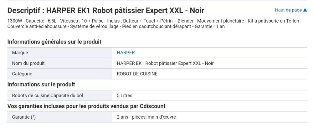 harper ek1 robot patissier xxl a 80