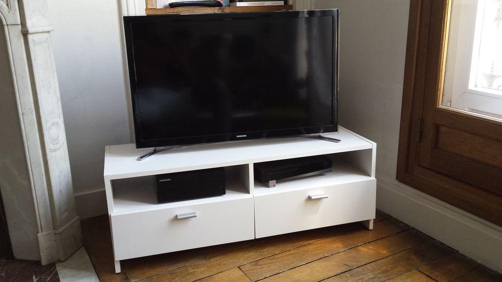 achetez meuble tv bas blanc occasion