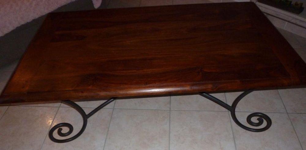 table basse bois et fer forge a 80