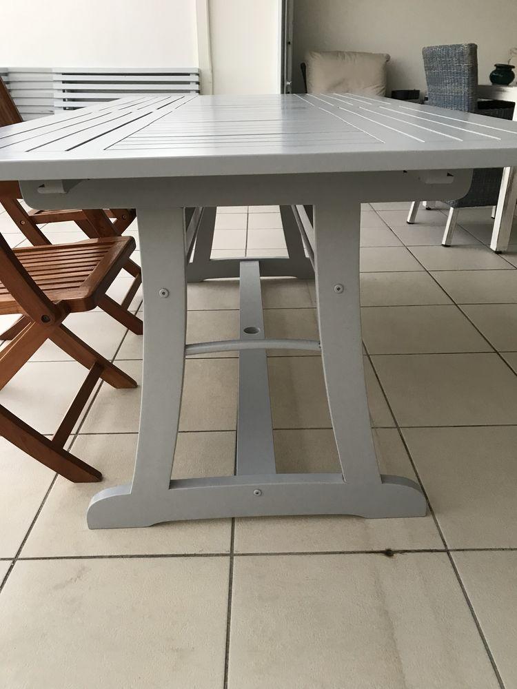 achetez table en teck gris quasi neuf