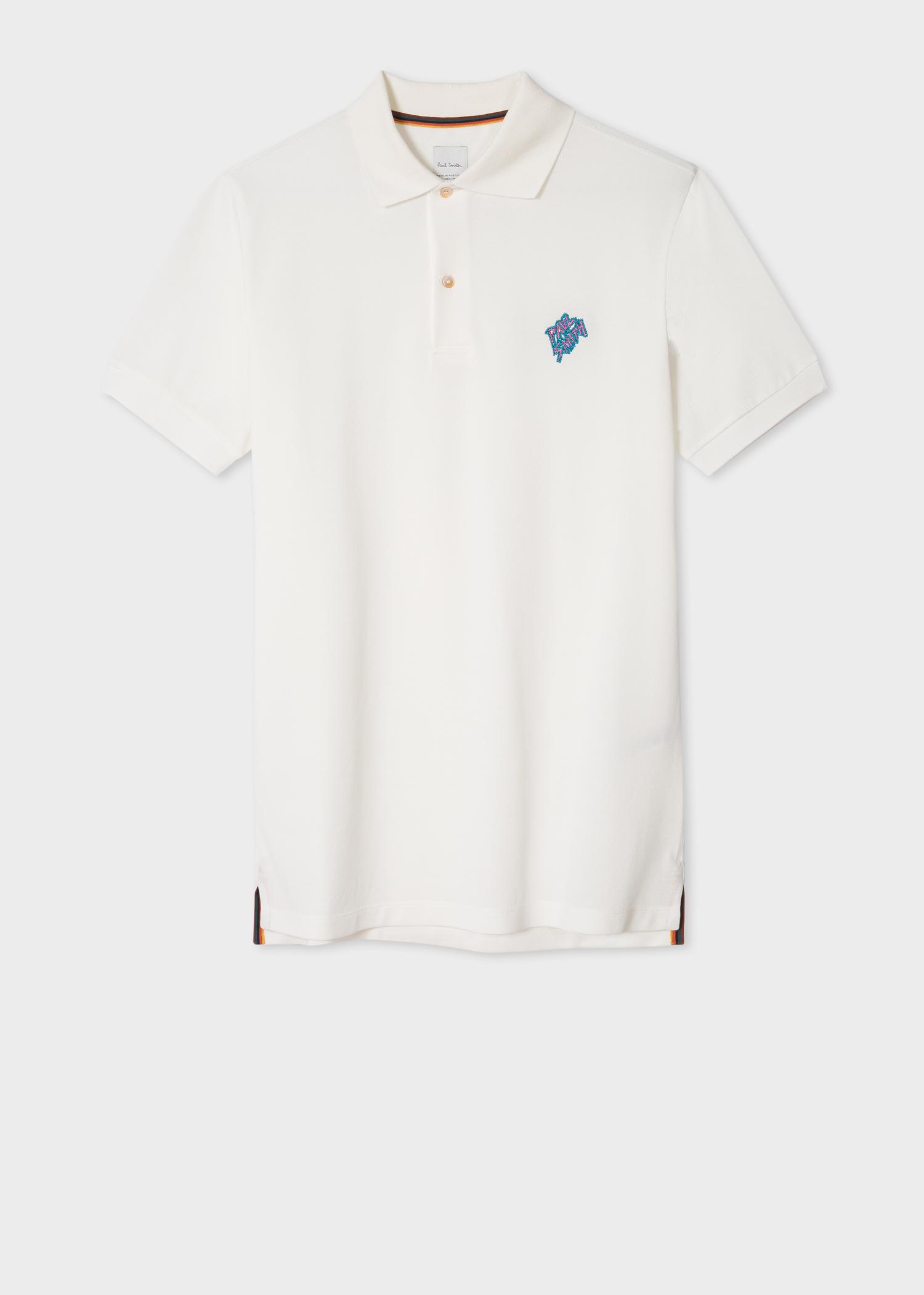 Men S Cream Paul Smith Signature Embroidered Polo Shirt