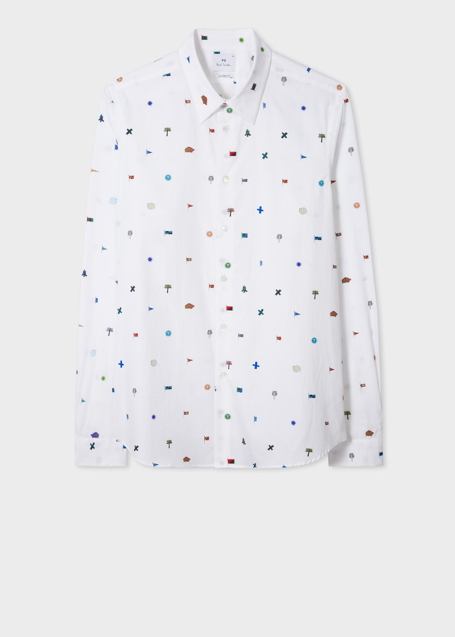 Men S Tailored Fit White Mini Flags Print Cotton Shirt