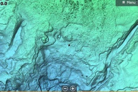 Vue du relief ombré d'une carte C-MAP REVEAL.