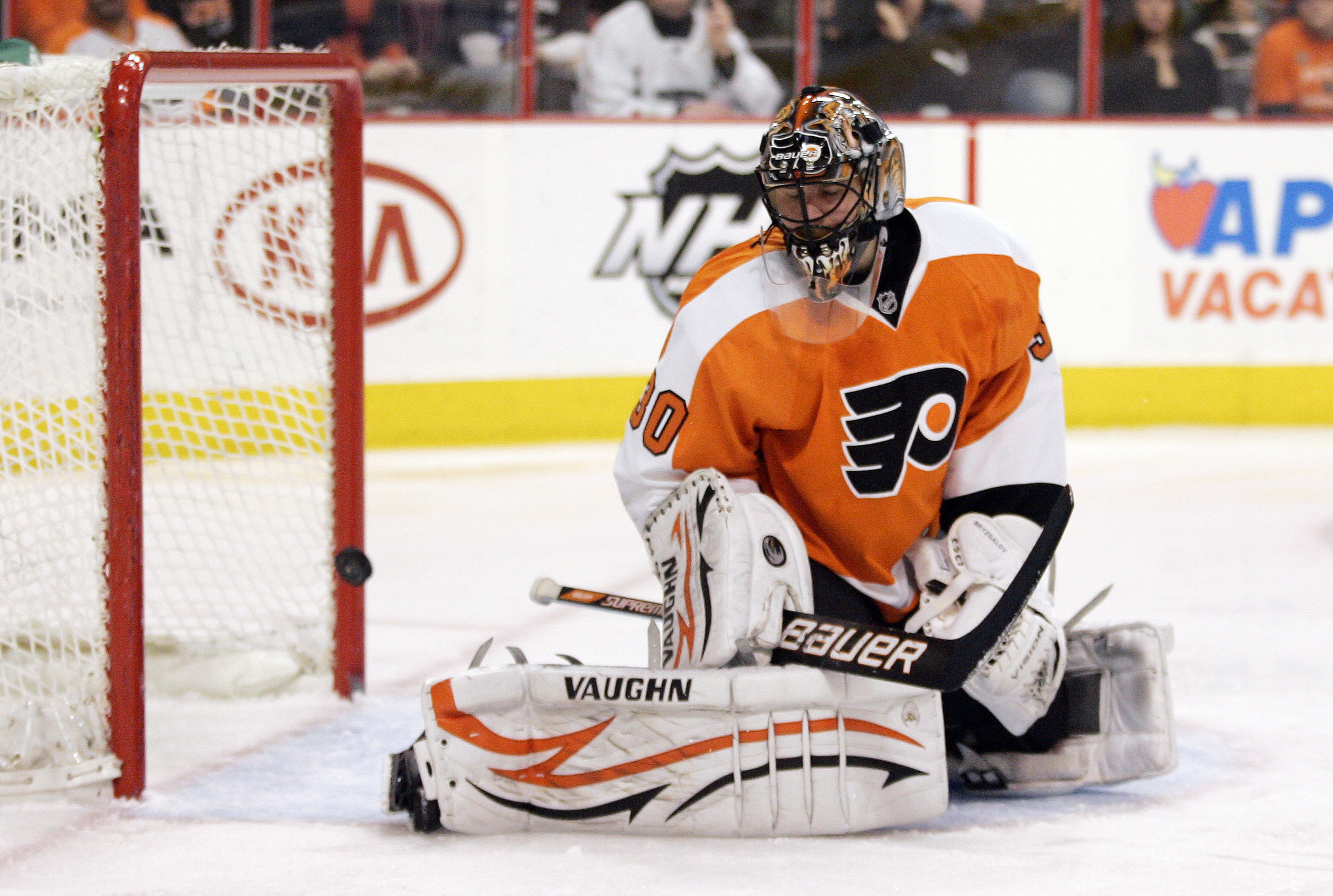 Ilya Bryzgalov of the Flyers giving up a goal