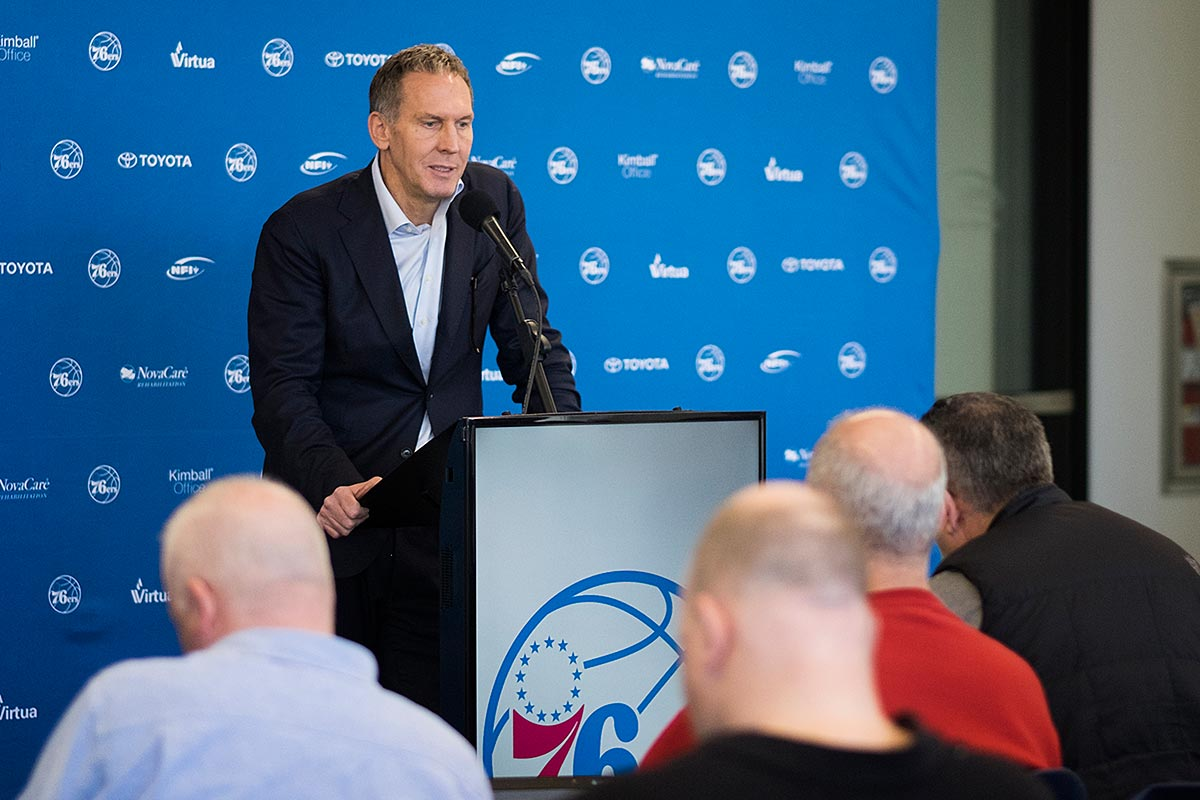 Live video: Sixers' Bryan Colangelo holds end-of-season