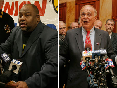 Union president Willie Brown and Gov. Ed Rendell each spoke to the press today to discuss the failed agreement to end the transit strike. (Akira Suwa / Philly.com Photographer)