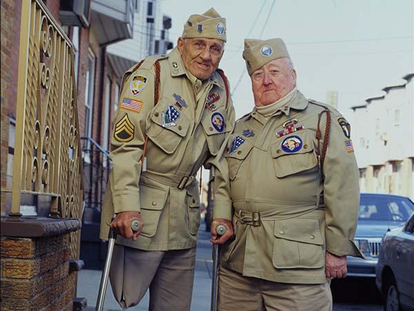 """World War II veterans Bill Guamere (left) and """"Babe"""" Heffron."""