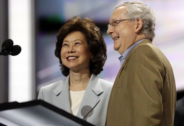 Image result for elaine chao transportation secretary and mitch mcConnell