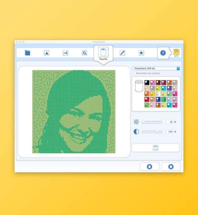 Skärmdump som visar PhotoPearls pop art
