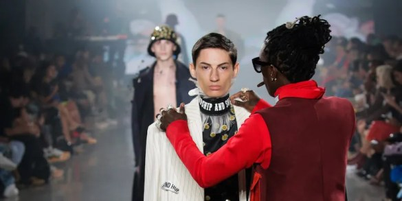 Watch Young Thug Jump on a Runway to Adjust a Model s Outfit at New     Photos by JP Yim Getty Images