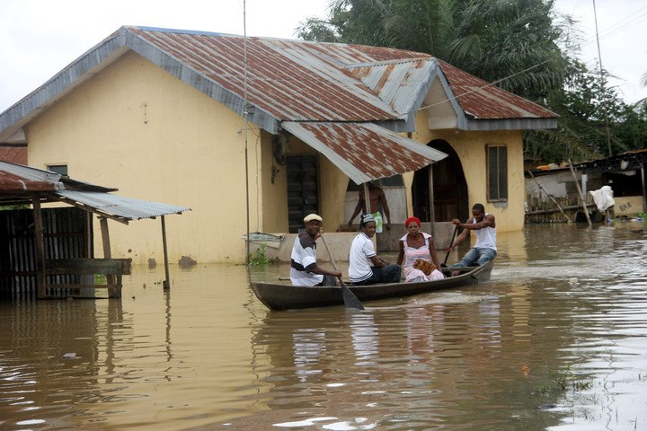 Flooded areas on Jarret street, Cable Point Asaba, Deltat state
