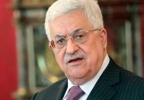 Palestinian president Mahmud Abbas gestu