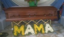Casket containing remains of Sheila Solarin