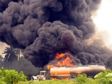 File Photo: Fuel Tanker On Fire By JTF At Eneka Road in Atali, Rivers State on July 7, 2012