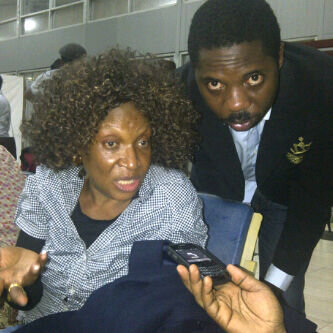 Ngozi Nwosu and Seun Oloketuyi at the airport, Wednesday