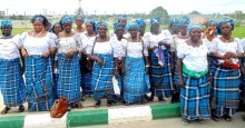 WIDOWS PROTESTING AT GOVERNMENT HOUSE IN UYO ON MONDAY (25/3/13).