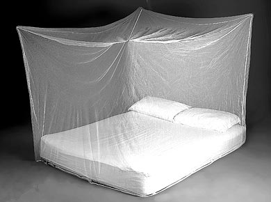 Treated mosquito nets help prevent against malaria.