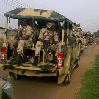 Soldiers on the way to borno state, state of emergency