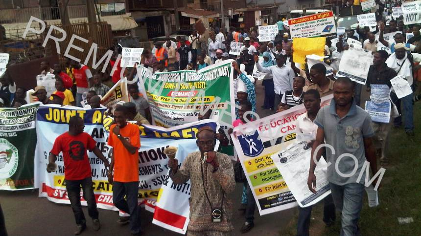 Protest to save education in Lagos state by ASUP, NANS and others'