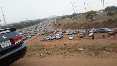 Immigration test Abuja outside stadium
