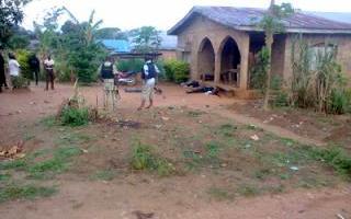 Police investigators arrived Sunkanmi Ogunbiyi's house after the shooting