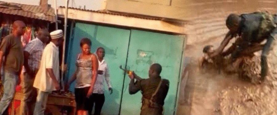 Police Brutality: Police officer brutalising women in Lagos