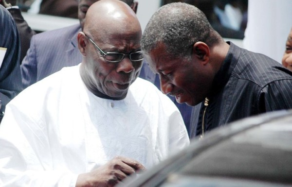 Former Nigerian presidents, Goodluck Ebele Jonathan and Olusegun Aremu Obasanjo.