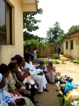 Women waiting for Immunization at the health centre