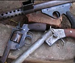 Locally made guns used to illustrate the story