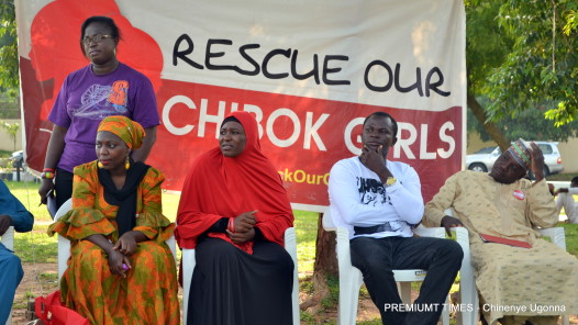 Aisha Yesufu and other protesters at the venue of the #BringBackOurGirls protest