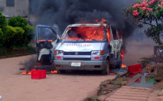 Church vehicle set ablaze by angry residents