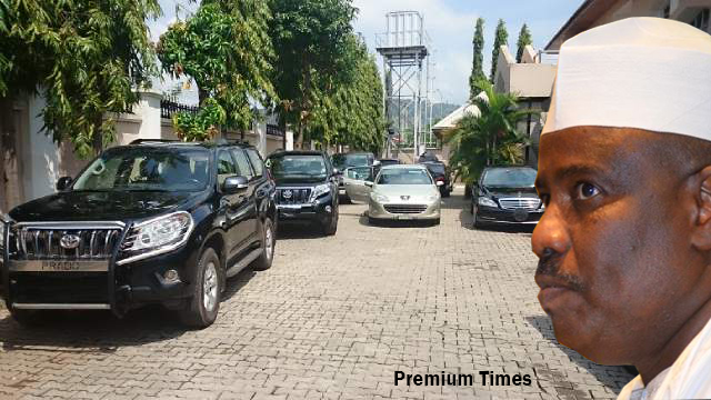 Mr. Tambuwal's security vehicles parked Thursday afternoon at his residence after President Jonathan ordered him stripped of state protection.