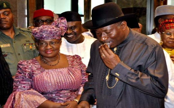 FILE PHOTO: Former Nigeria's finance minister, Ngozi Okonjo-Iweala and Former President Goodluck Jonathan