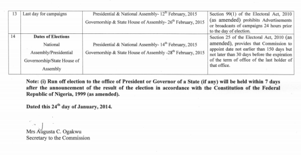 INEC Timetable for General Elections 2015