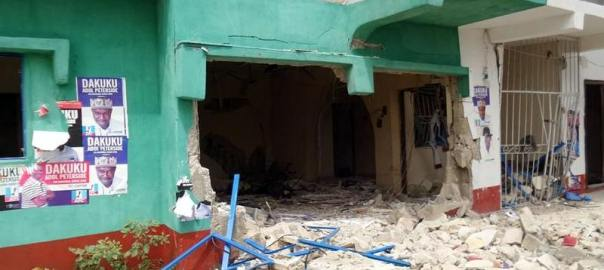 FILE PHOTO: An APC office bombed in Okrika, Rivers State