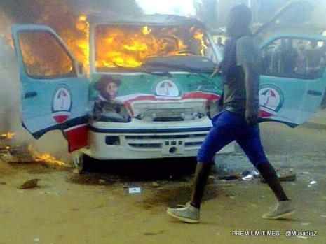 President Jonathan's campaign bus burnt in Jos