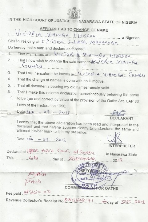 Affidavit of Change of Name